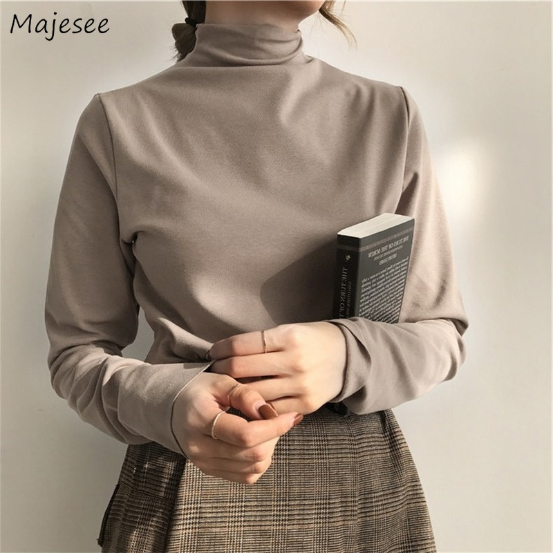 Long Sleeve T-shirts Turtleneck Solid 2020 Chic Elegant All-match Warm Thickening Slim Tops Fashion Casual Harajuku Clothes Tide 1