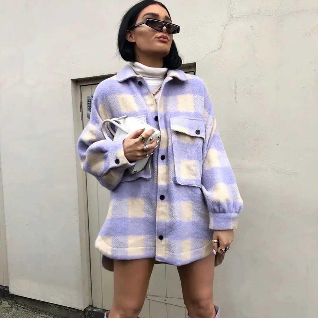 패션 오버 사이즈 울 코트 여성 pladi 자 켓 빈티지 긴 소매 자 켓과 코트 숙 녀 한국어 코트 겉 옷 2020 streetwear