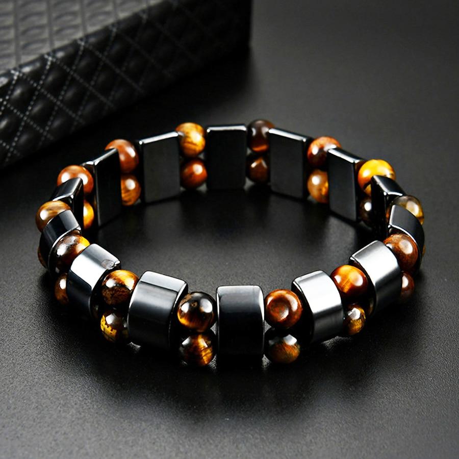 Double Hematite Tiger's Eye Bracelets Men Tiger Eye & Hematite Charm Bracelets for Women Natural Energy Stone Bracelet Jewelry(China)