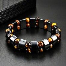 Pulseira de olho de tigre duplo, bracelete de pedra natural para homens e mulheres com olho de tigre e hematita, joia