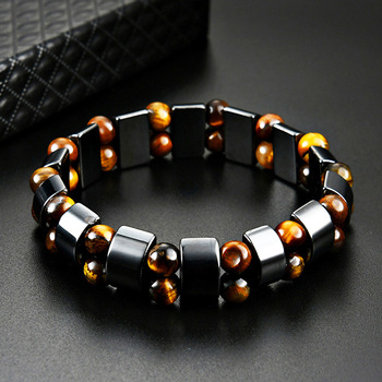 Double Hematite Tiger's Eye Bracelets Men Tiger Eye & Hematite Charm Bracelets for Women Natural Energy Stone Bracelet Jewelry