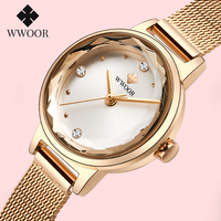 WWOOR Luxury Diamond Rose Gold Watches Woman Small Bracelet Watch Ladies 2020 Casual Quartz Wristwatch For Women Top Brand Clock