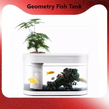 XIAOMI Geometry Fish Tank Aquaponics Ecosystem Small Water Garden Ecological Fish Tank Aquarium Transparent Aquarium