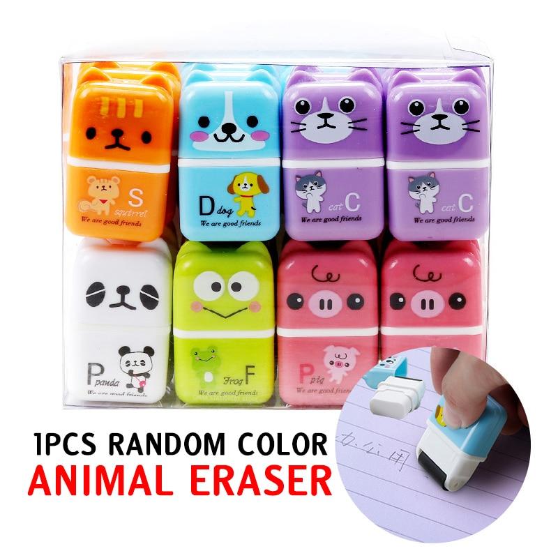 1pcs Cute Roller Animal Eraser Cartoon Color Rectangular Eraser Student Stationery Children's Gifts School Office Supplies