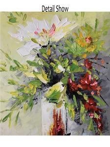 Image 5 - 질감 두꺼운 꽃병 꽃 수제 유화 캔버스 벽 아트 유화 캔버스 나이프 아트 홈 인테리어 벽 사진