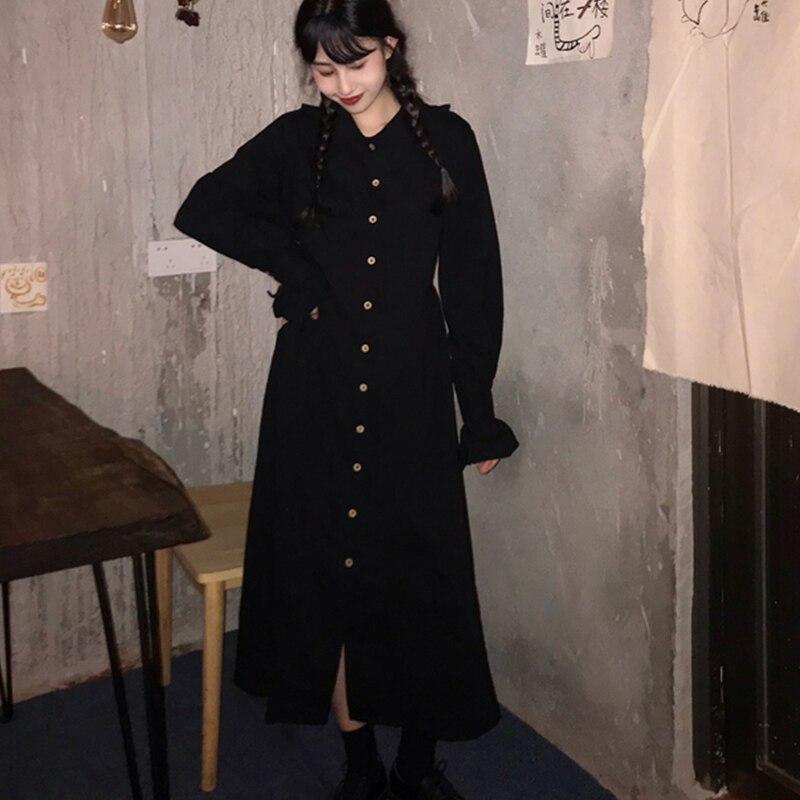 Vintage Black Shirt Dress Women Autumn Winter Harajuku Butterfly Sleeve Lace-Up Maxi Dresses Female Robe Casual Halloween Dress