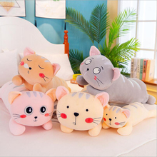 цена Cute Cartoon Cat Plush Toy Stuffed Animal Long Style Cat Doll Soft Plush Pillow Children Toy Girls Birthday Gift онлайн в 2017 году