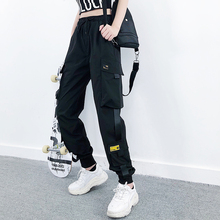 Women Fashion Streetwear Cargo Pants Black Ankle Length Elastic Waist Joggers Female Loose Trousers Casual Plus Size Haren Pants cheap EACHIN Polyester Ankle-Length Pants A00606 Solid Flat Spliced Broadcloth