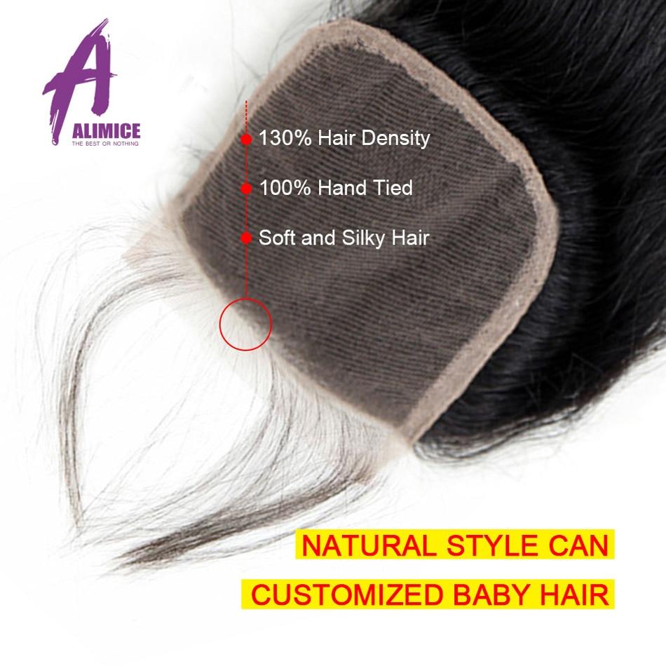 H8839c9cc8b384f4f9754c9df81469397V Alimice Indian Straight Human Hair Bundles With Closure 3 Bundles Hair Extensions With Closure Remy Lace Closure with Bundles