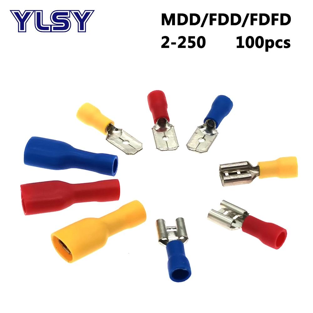 100 adet 6.3mm kadın erkek İzoleli sıkma terminali FDD/FDFD/MDD2-250 elektrik elektrik kablosu konektörü 16-14AWG 1.5-2.5mm2