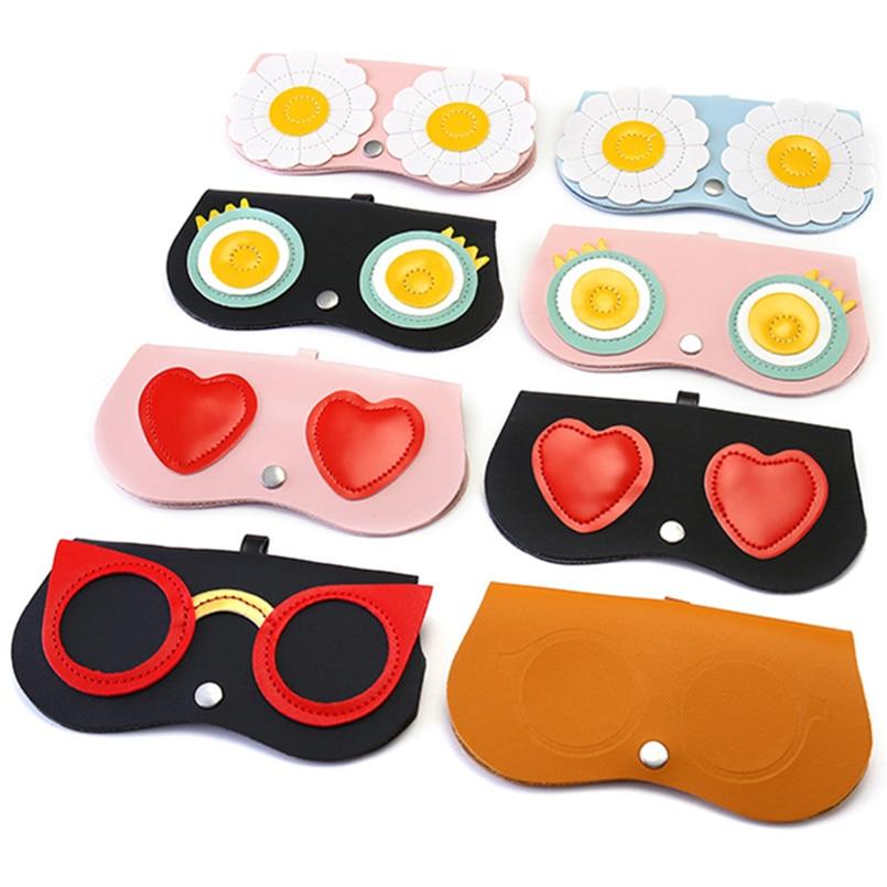 Fashion Sunglasses Holder PU Leather Eyeglasses Case Cute Designer Eyewear Container Cases Hanging Hook Oculos Box For Women
