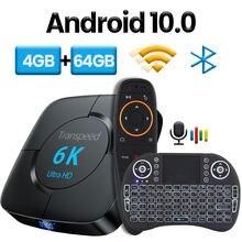 Transpeed android 10.0 caixa de tv bluetooth assistente de voz 6k 3d wifi 2.4g & 5.8g 4gb ram 64g media player muito rápido caixa superior