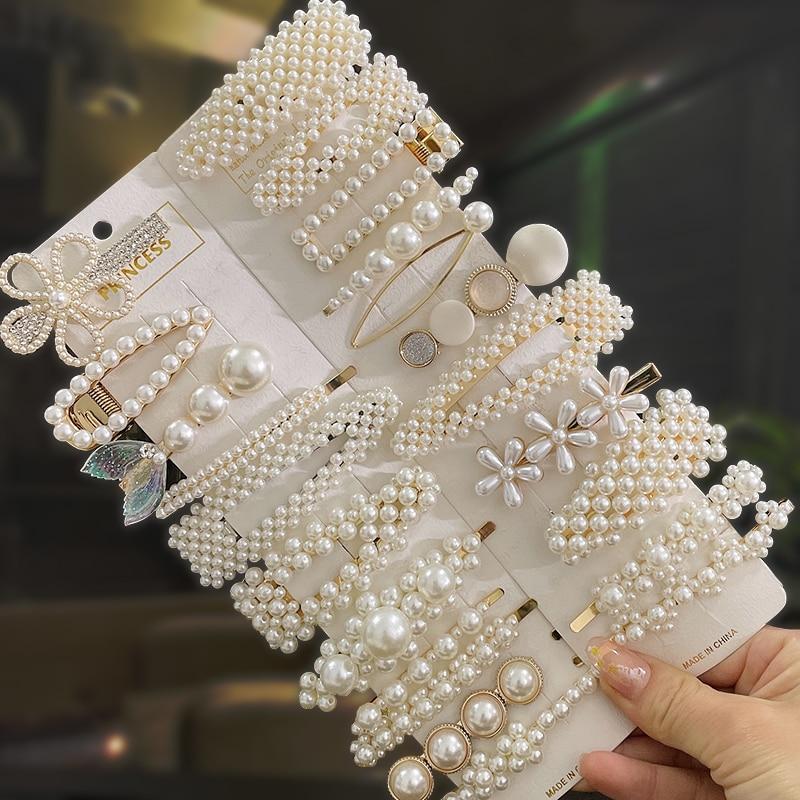 Simulated Pearl Hair Clips For Women Korean Women Hairpins Girl Geometric Hair Barrettes Fashion Hairgrip Hair Accessories