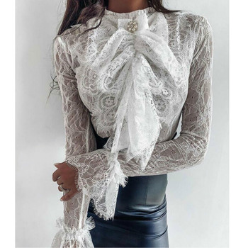 цена на Fashion Elegant Women See-through Bowknot  Lace Blouse Flare Long Sleeve Tops Shirt Slim Fit Casual Blouse