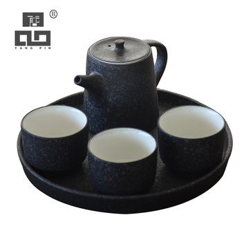 TANGPIN black crockery ceramic teapot with 3 teacups a tea set portable travel tea sets drinkware