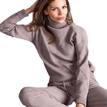 MVGIRLRU kobieta sweter garnitury Casual dzianiny dres swetry z golfem + spodnie zestawy dwuczęściowe kobiece stroje tanie i dobre opinie D81011-2 REGULAR Pełna Elastyczny pas COTTON Poliester Pełnej długości Kobiety Na co dzień Stałe