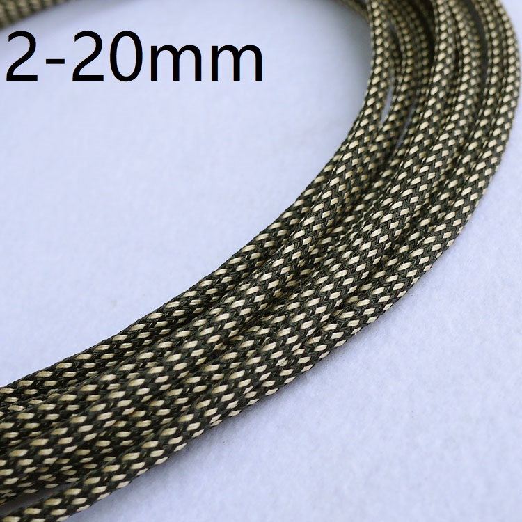 Black Gold Silk PET Braided Wire Sleeve 3 4 <font><b>6</b></font> 8 <font><b>10</b></font> <font><b>12</b></font> 14 16 20 mm Tight High Density Insulated Cable Protect Expandable Colorful image