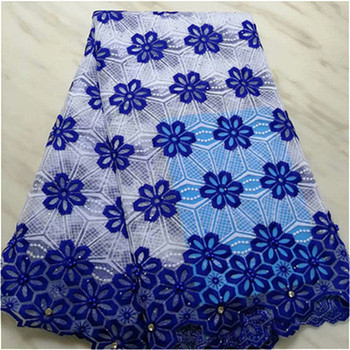 African Lace Fabric 2019 High Quality Lace royal blue Bridal Lace Fabric With Beaded stones Nigerian Tulle Mesh Lace Fabrics