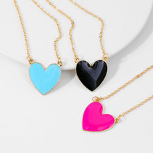 New Sweet Enamel Black Heart Pendant Necklaces Women Trendy Love Statement Bohemian Necklaces Girls Jewelry Party Accessories(China)