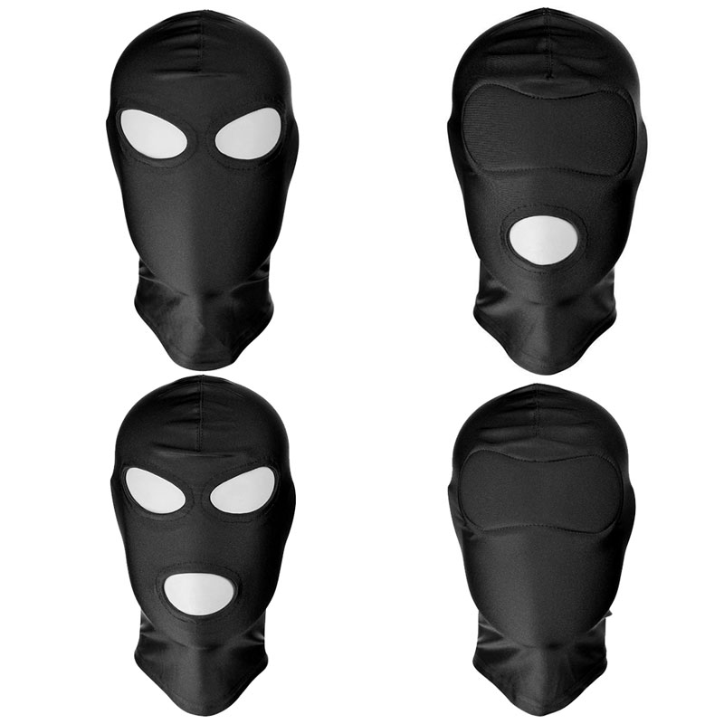 BDSM Bondage Fetish Mask Hood Sexy Toys Open Mouth Eye Bondage Party Mask Cosplay Slave Punish Headgear Adult Game