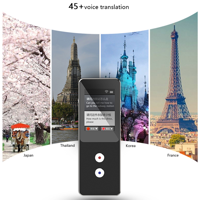 "T9 Offline Translator 2.4"" Screen Portable Smart Two-way Real-time Language Translator Muama Enence Translation With 32G Storage"