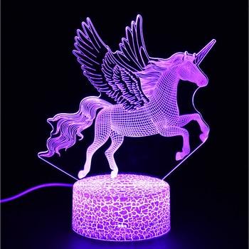 цена на Unicorn series colorful creative animal model horse 3D light LED small night light gift table lamp visual light