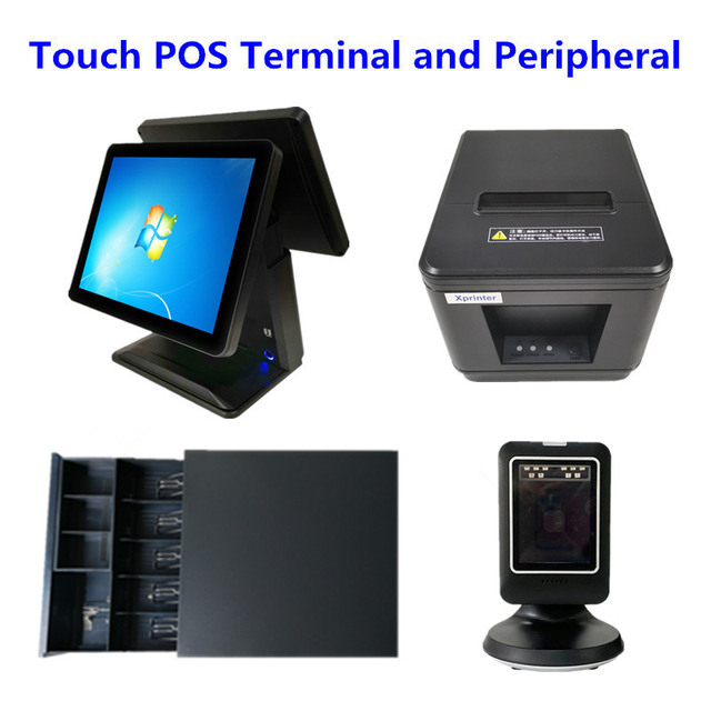 """Touch POS System 15"""" Dural Screen Cash Register & Cash Drawer & 80mm Thermal Receipt Printer Auto Cutter & Barcode Scanner"""