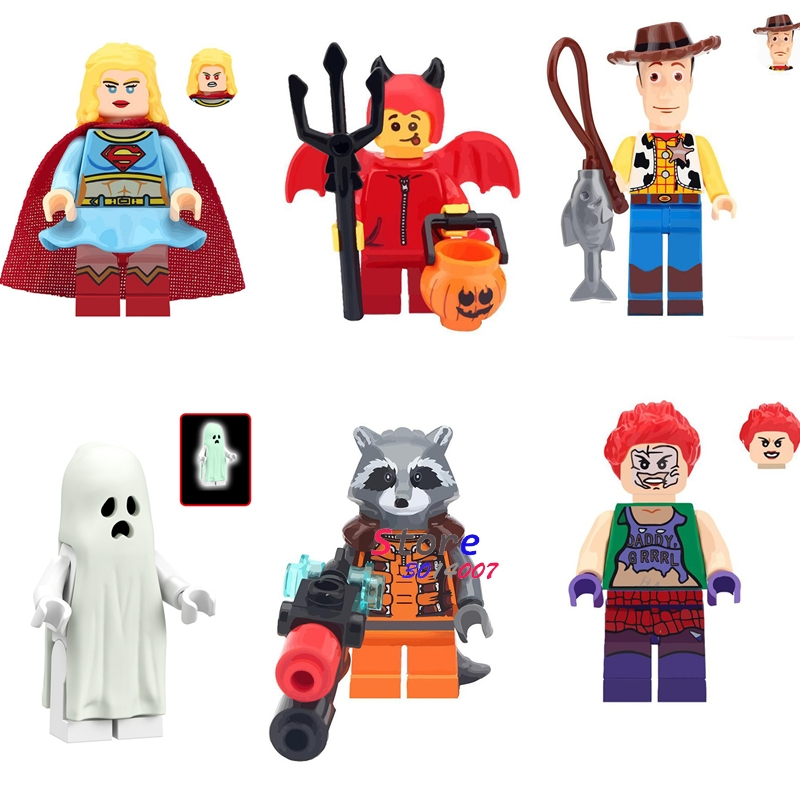 Single Super Heroes Supergirl Little Devil Ghost Vitruvius Rocket Racoon Woody's Story Building Block Toys For Children