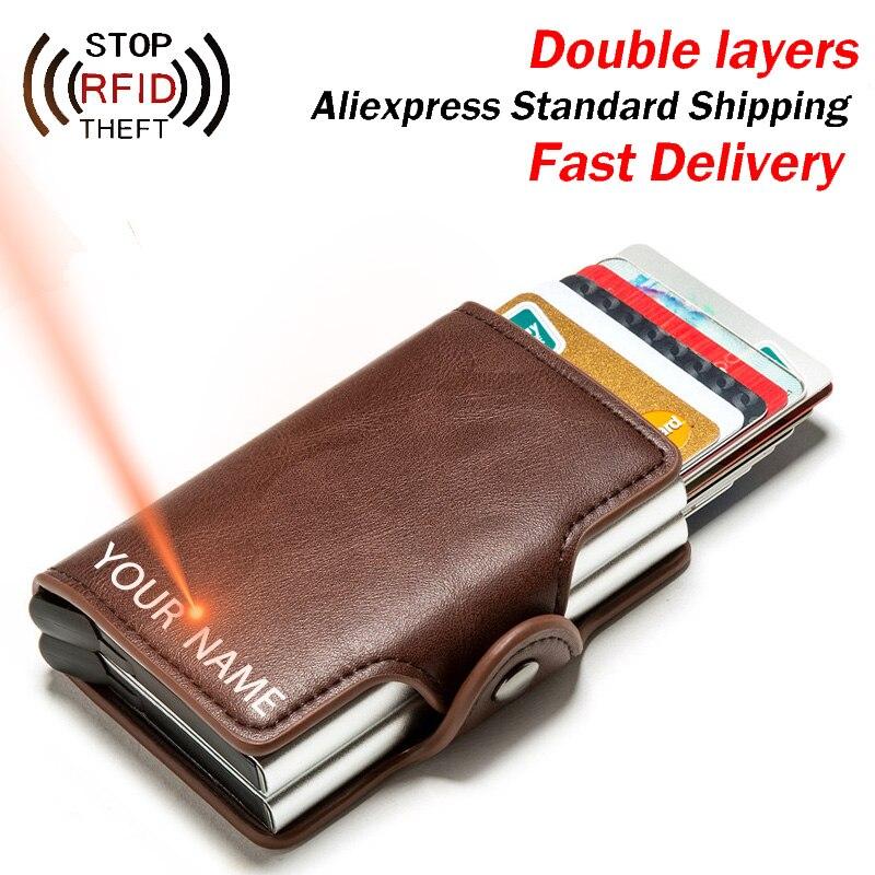 Engraving RFID Card Holder Wallet for Men Credit Card Holder Business Unisex PU Leather Double Layer Cardholder Aluminum Box