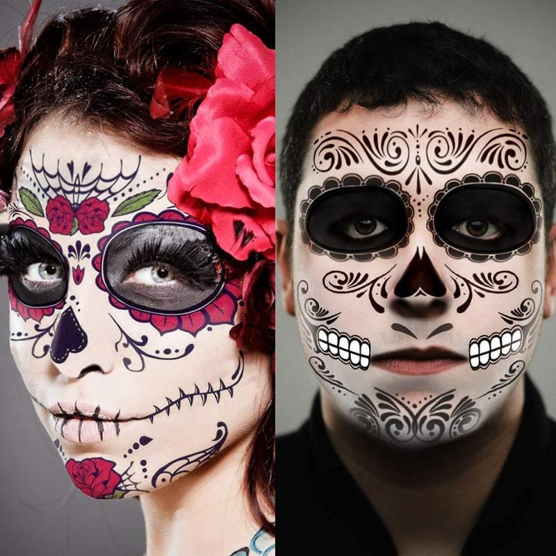 2pc halloween à prova dwaterproof água tatuagem temporária adesivo facial maquiagem especial rosto dia dos mortos crânio vestir-se dia das bruxas dia das bruxas