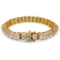 10m 8in HipHop New Fashion Iced Out Bling tennis bracelet Gold Color Micro Pave CZ Stones Bracelets Charm Jewelry For Men Gift