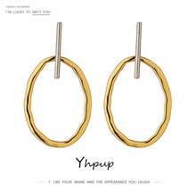 Yhpup Trendy Simple Design Hollow Geometric Dangle Earrings Circle Gold Earrings Oorbellen for Women Party Jewelry Accessories