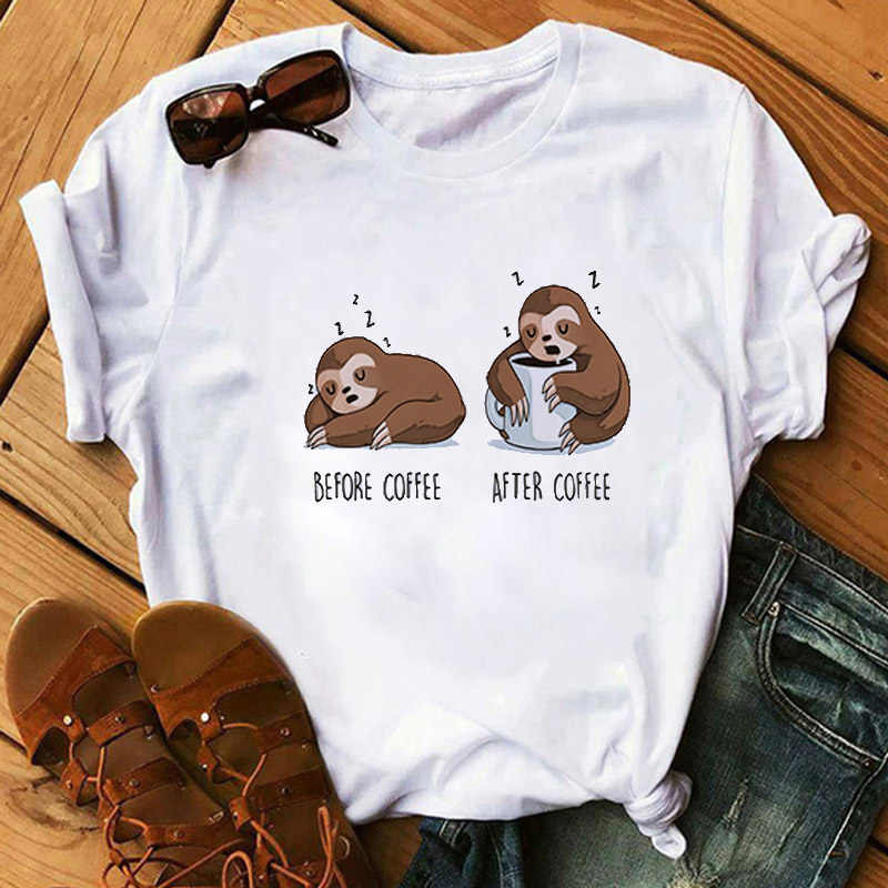 Cartoon Sloth Drucken Frauen T Shirt Casual Kurzarm T-shirt Nette Tumblr T-shirts Harajuku Weibliche T Lustige Tops Camiseta Mujer