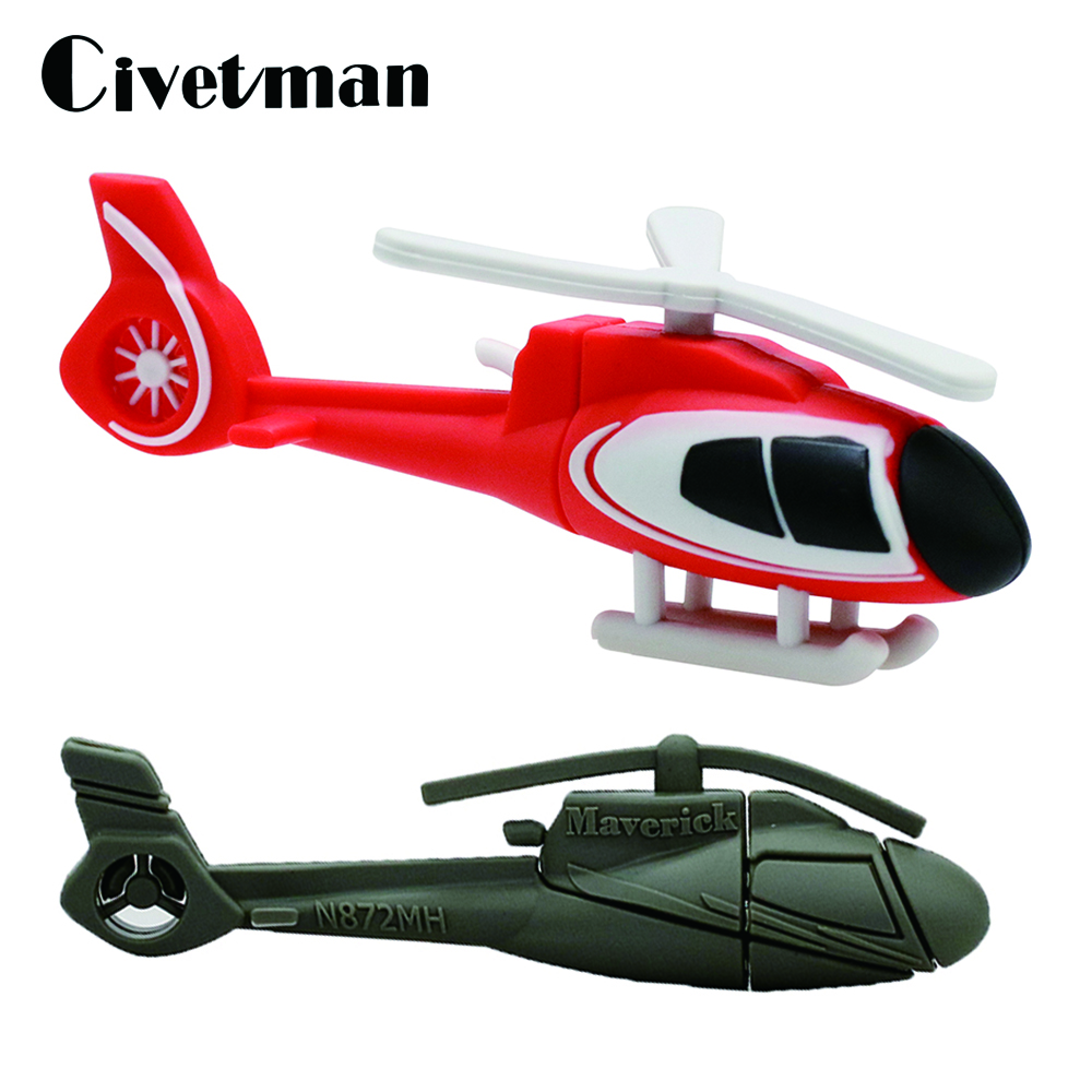 Cartoon Helicopter USB Flash Drive 4GB 8GB 16GB 32GB 64GB Pendrive Airplane Memory Disk USB 2.0 Stick Pen Drive Child's gift image