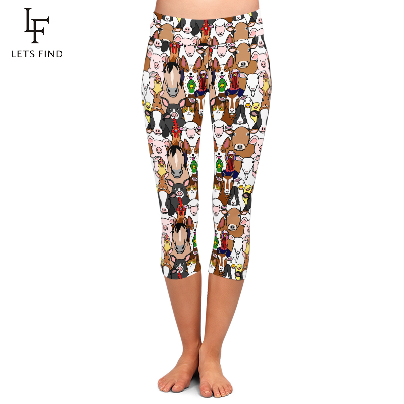 LETSFIND High Elastic Women Capri Leggings Seamless Cartoon Farm Animals Print High Waist Plus Size Casual Mid-Calf Pants