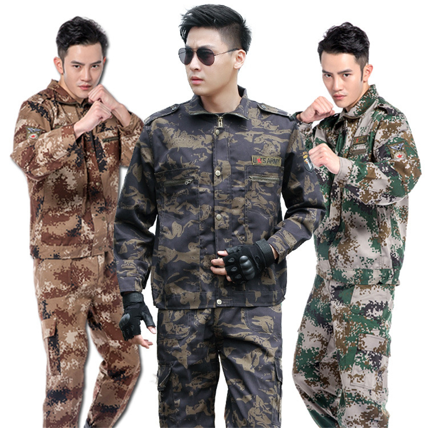 Men Army Special Forces Military Uniform Camouflage Work Tactical Soldier Combat Shirt Training Costumes Clothes Pant Set
