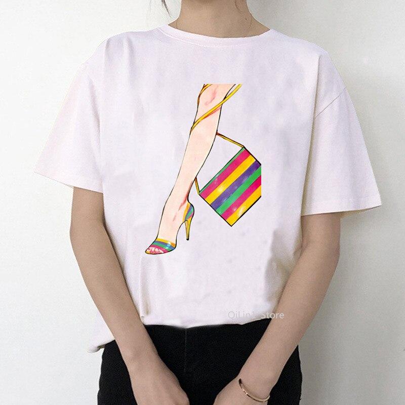 Newest Watercolor High Heels Shoes Print Vogue T shirt Summer Femme T shirt Women 90s Punk Shirt Hip Hop Hipster Streetwear