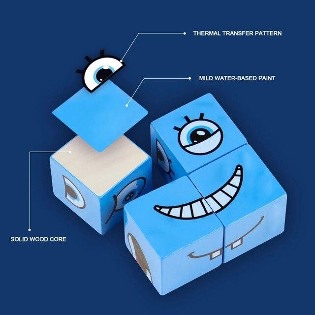 חדש מונטסורי ביטוי פאזל פנים שינוי קוביית אבני בניין צעצועי למידה מוקדמת חינוכי משחק צעצוע לילדים מתנה 5