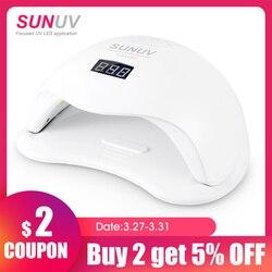 Sunuv SUN5 Plus 48W Uv Licht Nagel Droger Voor Alle Gels Dual Handen 36Leds Manicure Lamp Auto Sensor bodem
