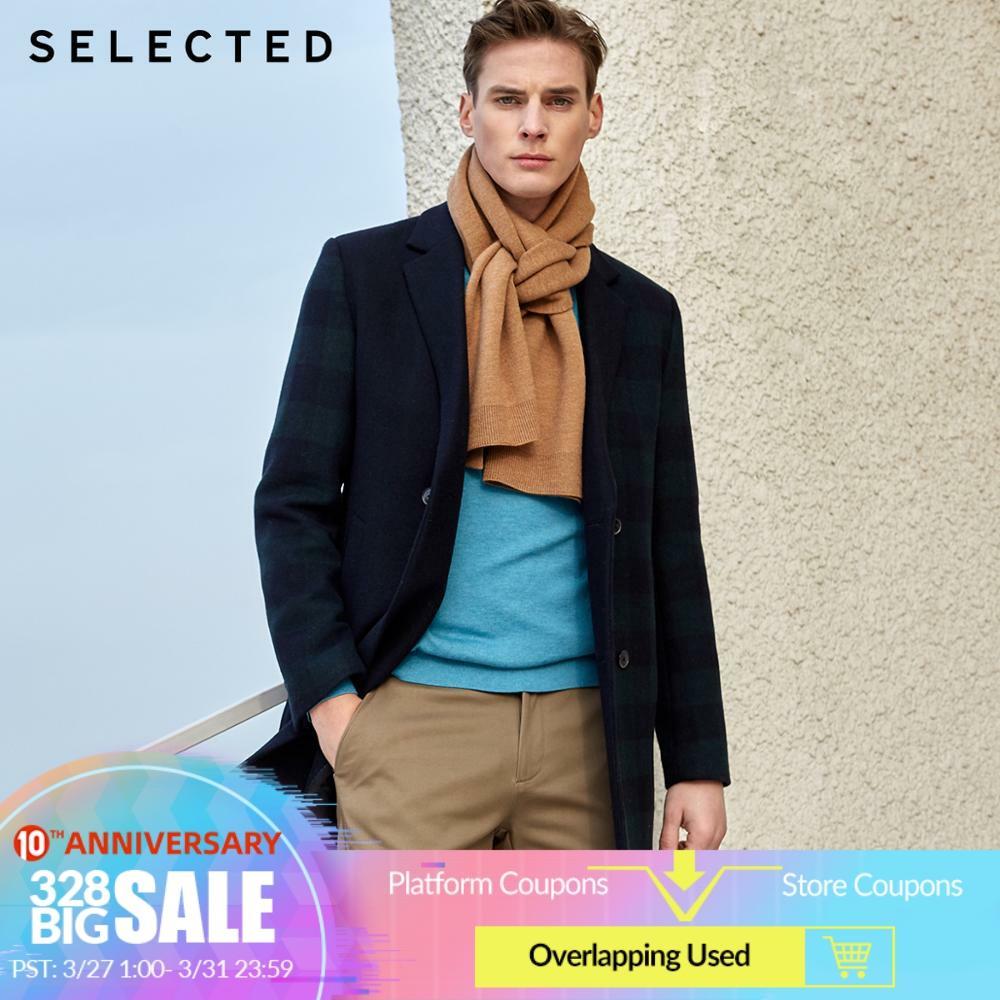 SELECTED Men's Regular Fit Large Plaid Woolen Overcoat S|419427551
