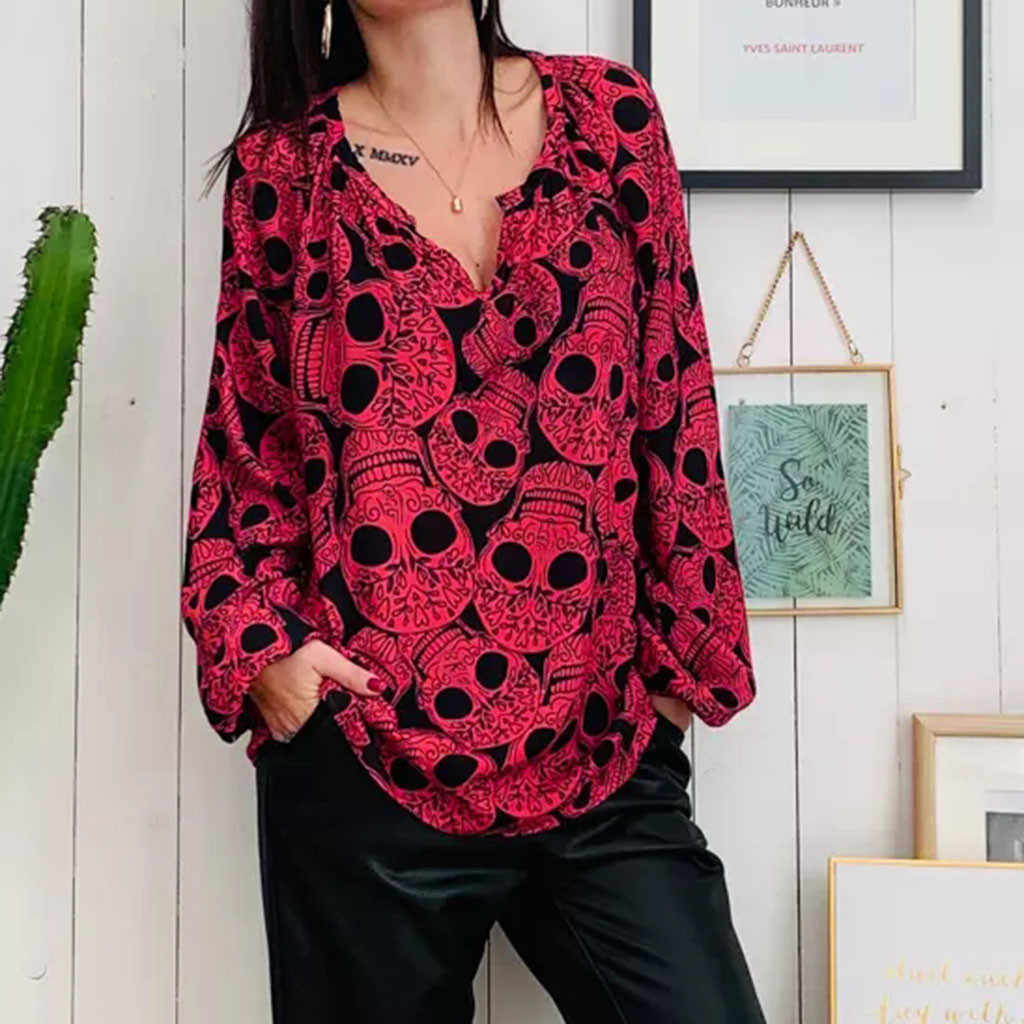 Women's Skull Print V-neck Long-Sleeved Shirt Top Blouse woman tops woman blouses blusas mujer de moda women shirts ropa mujer