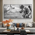 Indian Woman and White Horse Canvas Painting Abstract Posters and Print Cuadros Wall Art Picture for Living Room Home Decoration
