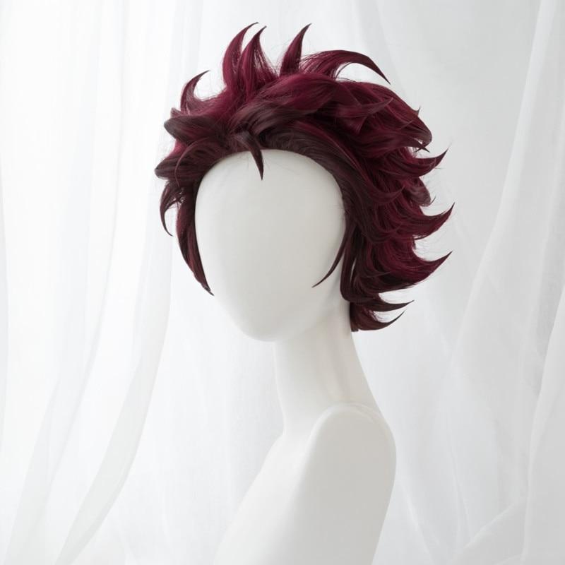 Uwowo Demon Slayer: Kimetsu No Yaiba Kamado Tanjiro Cosplay Wig Demon Slaying Corps Uniform Wig 25cm Short Wine Red Wig