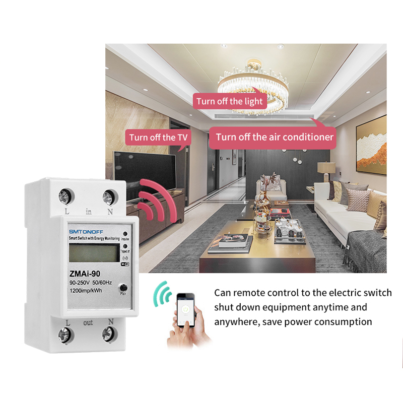 WiFi Smart Life app 5(60)A Single phase Din rail Smart Switch with Energy monitoring caculate Power Consumption for Smart home