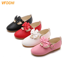 VFOCHI 2019 Girls Leather Shoes for Kids Bowknot Dancing Children Party Teenager Casual Dress