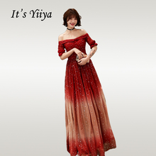Its Yiiya Evening Dress Elegant Gradient Burgundy Sequin Women Party Dresses Boat Neck Half Sleeve Long Formal Gowns E721