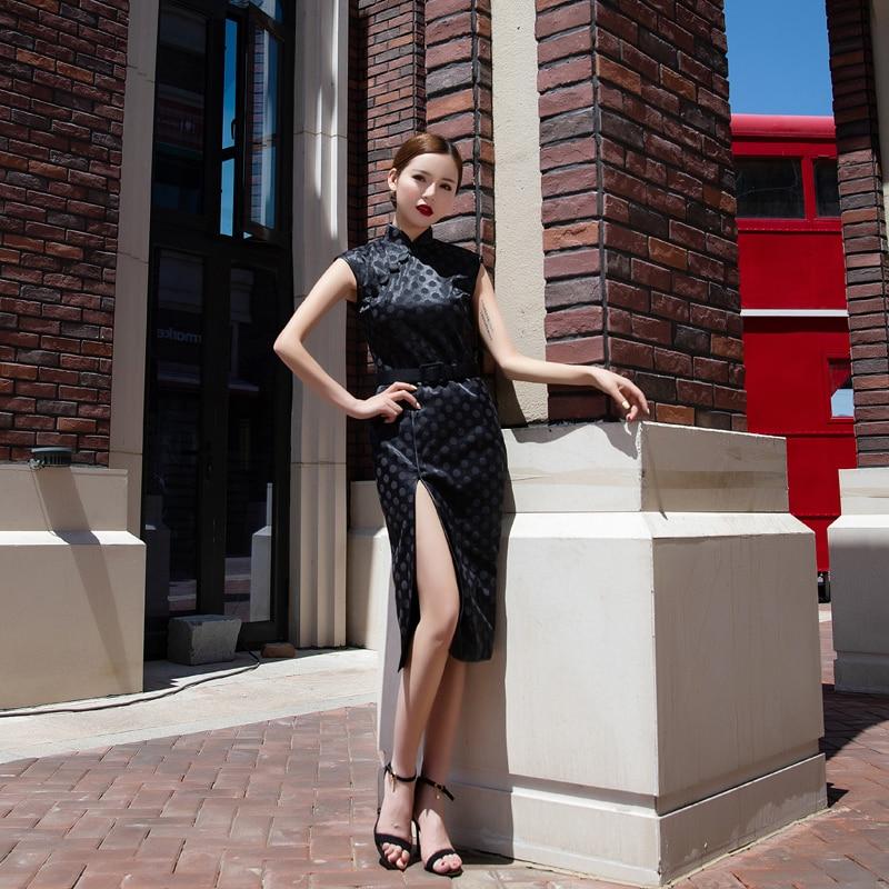 Robe Qipao femme chinoise élégante Vintage point noir Cheongsam femmes robe fendue en Satin