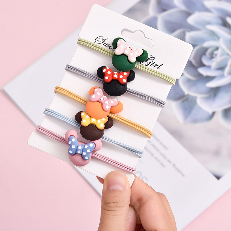 5PCS Color Polka Dot Bowknot Hair Tie Fashion Hair Ropes Scrunchie Ponytail Holder Rubber Bands For Girls Women Hair Accessories