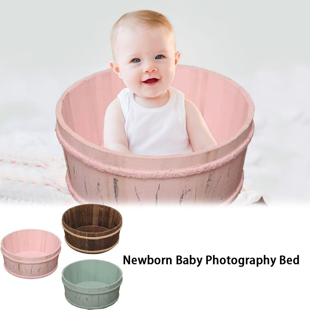 Newborn Baby Photography Bed Props Small Wooden Baby Photography Bed Tub Photo Props Crib For Baby Boys Girls