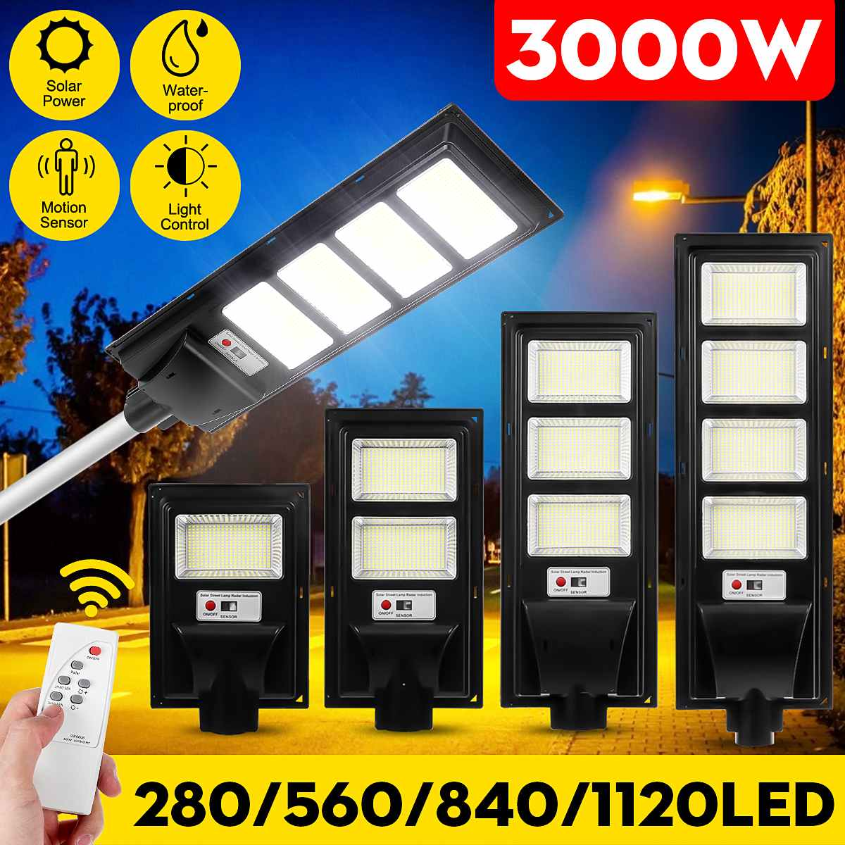 3000W 1120LED Solar Street Wall Light Garden Lamp PIR Motion Sensor w// Remote